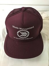 vintage waste management snapback cap hat trucker mesh