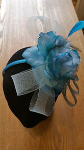 Fascinator - Blue sinamay & flower, with feathers on a sinamay base on a band