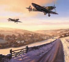 Nicolas Trudgian RAF print Winter of 41 signed by 4 WW2 veteran Spitfire pilots