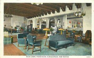 Albuquerque New Mexico Main Lobby Franciscan 1920s Postcard Teich 21-332