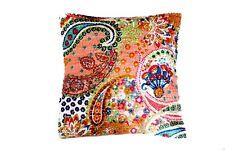 "Handmade KANTHA LEAVES   16""   Cushion Cover Indian Cotton Pillow (LE-6E)"