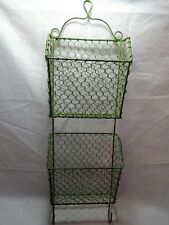 """MODERN Rustic COUNTRY Green WIRE Letter & Key Holder WALL Organizer 24"""" x 7"""""""