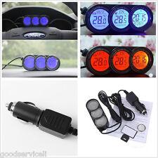 Mini Multi-function Car Indoor/Outdoor Temperature Guage Clock LED Backlight 12V