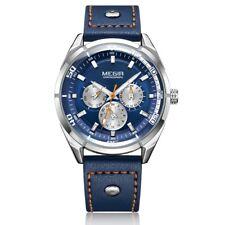 MEGIR Mens Watch Stainless Steel Genuine Leather Calendar Quartz Wristwatch