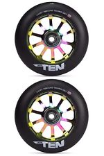 A Pair Of Lucky Ten 120mm Scooter Wheels Neochrome / Oilslick With Free Post