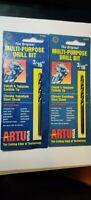QTY 2 Artu 3/16 in. x 3 1/8 in. Multi-Purpose Drill Bits Cobalt 01020 USA Made