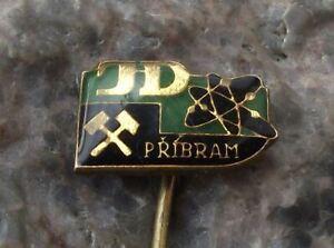 Vintage Pribram Uranium Mines Mining Crossed Hammer Atom Electron JD Pin Badge