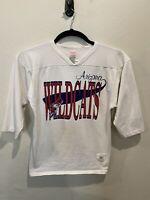 Vintage Arizona Wildcats Medium White 3/4 Sleeve V-Neck Shirt Wolf Brand