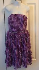 White House Black Market Purple/White Floral Strapless Dress w/ Ruffles - Size 2