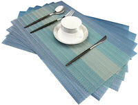 Set of 6 PVC Placemats Woven Washable Heat Resistant Dinner Table Mats Blue