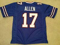 Josh Allen UNSIGNED CUSTOM Sewn Stitched Blue Jersey - M, L, XL, 2XL