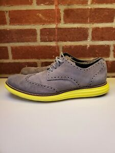 COLE HAAN Mens Size 10.5 Lunargrand Gray Suede Wingtip Oxford Shoes Yellow Soles