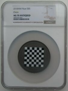 NGC MS70 Niue 2018 Chess Antiqued Silver Coin 2oz COA