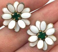 VINTAGE FLOWER EARRINGS WHITE ENAMEL GREEN RHINESTONE  SCREW BACK STYLE JEWELRY