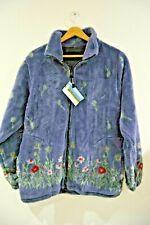 Ladies Galloway Fleece Purple Spring Flowers Jacket Coat Heavyweight XS- 6-10