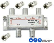 4 Way TV Aerial Cable F Splitter & F Plugs
