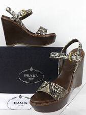 NIB PRADA ASH PYTHON CRACKED CHOCOLATE LEATHER PLATFORM WEDGES SANDALS 41 10