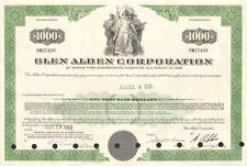 Glen Alden Corporation > $1,000 bond certificate coal stock share scripophily