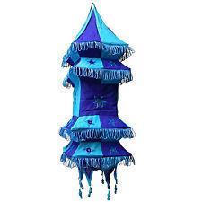 Abat-jour pagode carrée bleu-turquoise 70 cm suspendu Lampe patchwork habitent