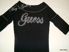 Guess Jeans Sweater T shirt  sweat  Top Blouse Pullover Rhinestones Black NWT XS