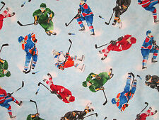 HOCKEY PLAYERS STICKS PUCKS HOCKEY BLUE COTTON FABRIC FQ