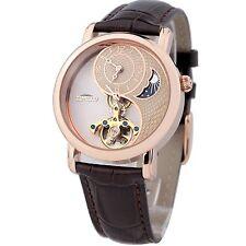 TIME100 Sun&Moon Phase Taichi Pattern Brown Leather Strap Skeleton Mechanical Wa
