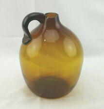 Studio Hand Blown Art Glass Applied Handle Amber Jug