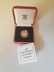 1989 UNITED KINGDOM £1 One Pound Silver Proof Piedfort Coin
