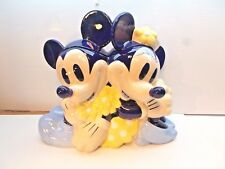 Disney Blue Mickey And Minnie Mouse Ceramic Cookie Jar Rare Htf