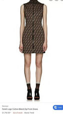 $1,790 Authentic Fendi  Logo Cotton Jersey Front Zip Mini Dress 6 US 42