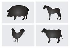 "Joanie 4pc Stencil set 4"" tall Barnyard Animals Cow Horse Pig Chicken DIY Signs"