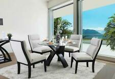 Modern Round Glass Top Table & Chairs - 5 pieces Dining Room Furniture Set ICE4
