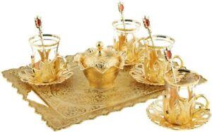Turkish Tea Glasses Metal Glass Holders, Saucers, Sugar Bowl Serving Tray Set