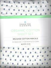 Under The Canopy Fiori Queen Sheet Set 4pc 100% Organic Cotton Modern Blue White