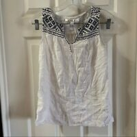 Max Studio Women's White Embroidered V Neck Sleeveless Cotton Blouse size S
