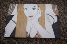 "Original 6"" X 8.5"" Art Drawing Sexy Sultry Female Fantasy Girl Busty Long Hair"