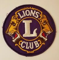 """Lions Club Logo 5"""" Round Embroidered Patch Badge Vintage Sewn"""