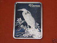 ☆ THE HERON  ☆  ULTRA RARE 1 OZ.999 PURE SILVER ART BAR FROM HAMILTON MINT