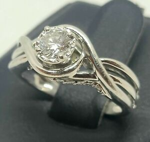 10K Solid White Gold 0.33 TCW Solitaire Diamond Engagement Ring Size 5.75