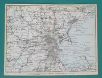 """BOSTON & Environs Massachusetts - 1909 MAP Baedeker 6 x 8"""" (15 x 20 cm)"""