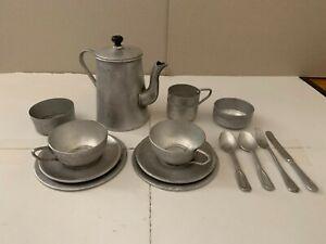 Vintage Aluminum Play Tea Set - Tea Pot, Plates, Saucers - Childs Toy - 2 Place