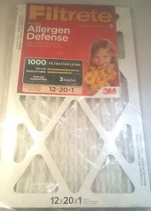 12x20x1 (11.7 x 19.7) Filtrete Allergen Defense 1000 Filter by 3M (4 Pack)