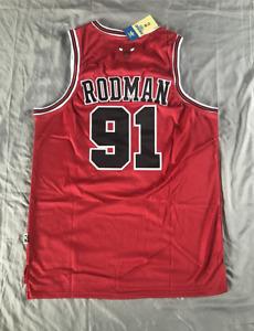 Retro Dennis Rodman #91 Chicago Bulls Swingman Jersey Stitched Red Size M-XL