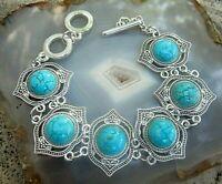 ethno stil armband mit türkis similis  edelstahl oder silbernes metall 20,5 cm