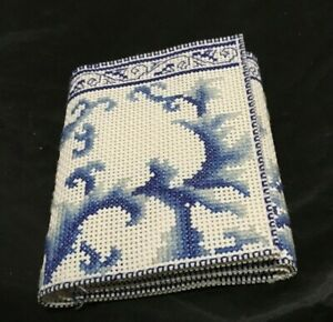 Blue & white Floral tri-fold cross stitched wallet
