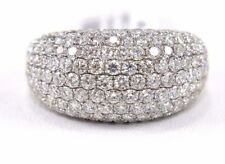Round Diamond Cluster Pave Dome Cigar Ring Band 18k White Gold 4.72Ct