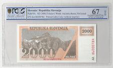 SLOVENIA 2000 TOLARJEV 1991 AA PICK 9A UNC BANKNOTE PCGS S GEM UNC 67 OPQ R 784