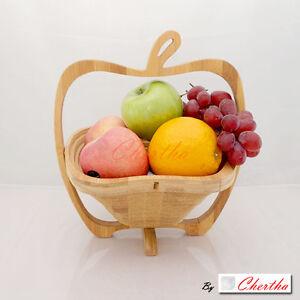 NATURAL BAMBOO WOOD FOLDABLE COLLAPSIBLE FRUIT VEGETABLE BASKET BOWL DECOR GIFT