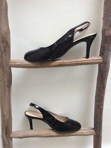 Nine West black patent slingback shoes size uk 4W, us 6, Eur 37