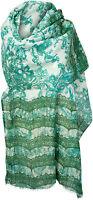 Sommer Schal Baumwolle Seide bedruckt  Weiß Grün scarf stole cotton silk summer
